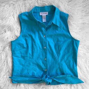 Sleeveless Button Up Tie Blouse